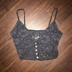Black crop tank top
